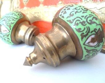 Green Enamel Brass Royal Salt and Pepper
