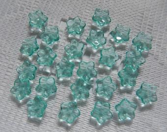 25  Aqua Blue Green Transparent 5 Petal Czech Glass Flower Beads  7mm
