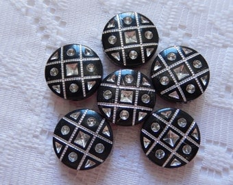 6  Jet Ebony Black & Silver Etched Flat Round Coin Acrylic Beads  16mm