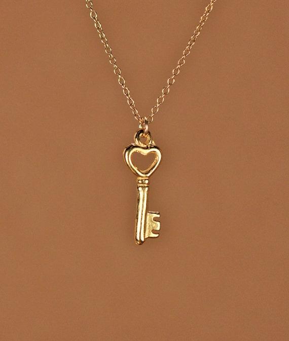 gold key necklace tiny key necklace key necklace a