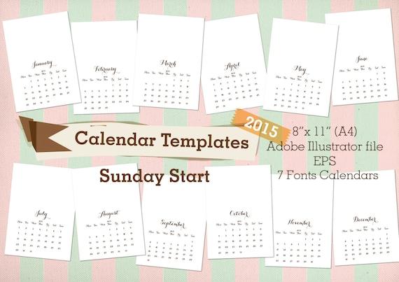 items similar to 2015 adobe illustrator file calendar sunday start templates printable eps file. Black Bedroom Furniture Sets. Home Design Ideas