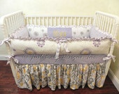 Custom Crib Bedding Olivia - Lavender, Gray, and Yellow
