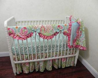 Custom Baby Bedding set Willow - Girl Baby Bedding, Kumari Garden Crib Bedding with Scalloped Crib Rail Cover
