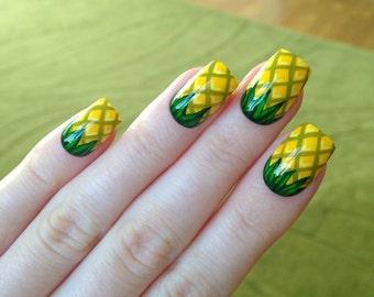 Pineapple Fake Nails, Nail designs, Nail art, Nails, Stiletto nails, Acrylic nails, Pointy nails, Fake nails, False nails