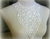 Tresors Ivory Lace Applique, Lace Applique, Lace Collar, Custome Design, Couture Design, Dressmaking, Lace Jewelry, Crafting, etc, GL-021