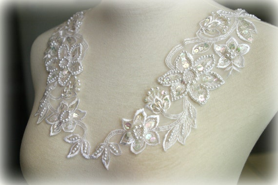 Set of White Beaded Lace Applique, Lace Applique, Lace Collar, Couture Design, Dressmaking, Lace Jewelry, Crafting, etc, AP-066