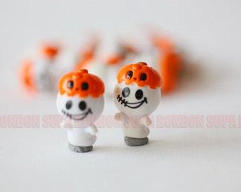 2 pcs / Decoden / Resin Cabochon / Funny / Pumpkin / Halloween / Ghost / Miniature / Figurine / 2.3CM Height / CN273