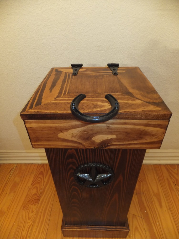 Bathroom Rustic Wood Trash Can By Thhcreations On Etsy