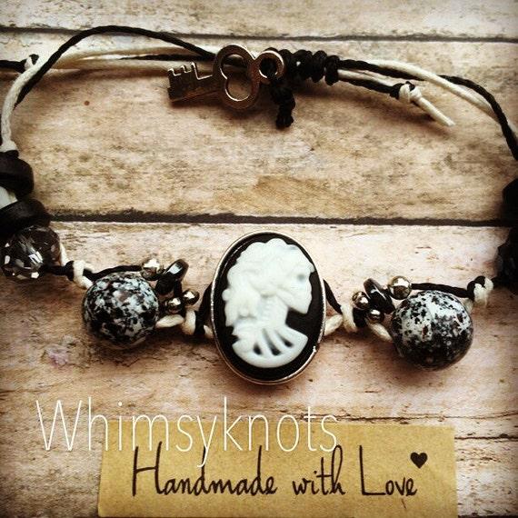 Skull bracelet- Cameo bracelet- fashion beaded bracelet