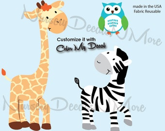 Repositionable Giraffe Decal, Zebra, Owl Wall Decals, Children's Room, Nursery Art (WA giraffe,zebra,owl) AOC