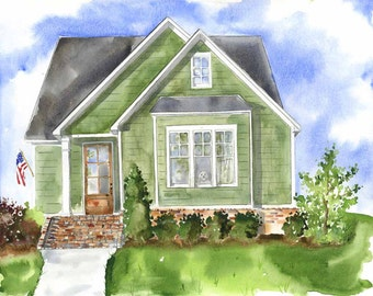 Commissioned House Painting - House Watercolor Portrait - Custom house painting