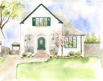 Watercolor House Painting - Custom Home painting - House Portrait - First Home Painting
