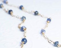 Blue Sapphire Necklace. Sapphire Jewelry. Blue Sapphire Strand Necklace. Goldfill or Sterling Silver Necklace. September Birthstone
