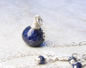 Blue Sapphire Necklace. September Birthstone. Silver Necklace. Petite Necklace. Drop Necklace. Pendant Necklace