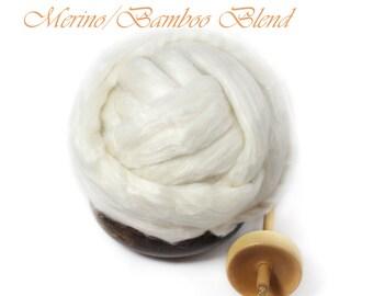 Merino wool Bamboo Blend Luxury Fiber Spinning Undyed Ecru Top Roving -  4oz