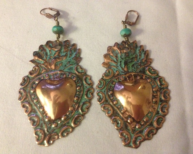 Brass Small Copper Milagro Hearts, Corazons, Frida Khalo, Sacred Heart Earrings, Flaming Hearts, Valentine's, 2 broke girls, Kat Dennings