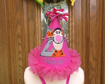 Girls 1st Birthday Party Hat - Tigger Birthday Hat  - Free Personalization