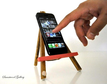 iPhone 5 stand - Wooden Easel Geometric Rose (iphone 5 stand, unique gift)