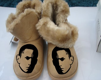 Eminem T Shirt Slipper Fur Boot Slim Shady Art Hoodie