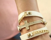 Leather Wrapped Ivory Cross Bracelet with Rhinestone Cross and Chain Links