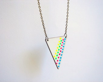 Dot Geometric Necklace, Wood Triangles Necklace,Wood Mint Necklace,Geometric Jewelry