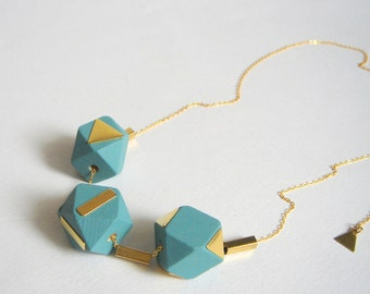 Blue Geometric Necklace ,Handpainted Wood Geometric Necklace,Geometric Jewelry