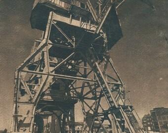 Old harbor crane, Antwerpen (BE), Tea toned cyanotype