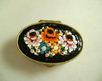 SALE  Vintage Micro Mosaic Pill Box Art Deco