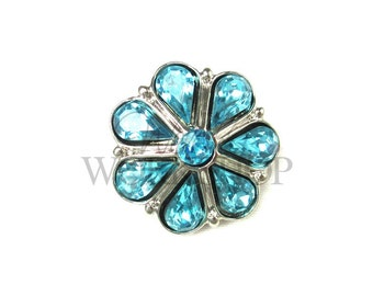 Aqua - Set of 5 Acrylic 23mm Rhinestone Buttons - AB-059