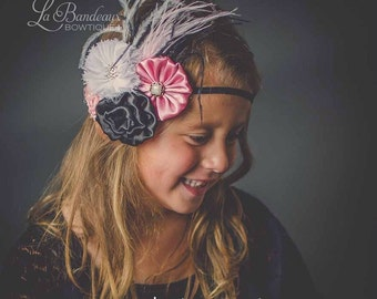 Vintage Pink, White and Black Couture Headband, Yoyo Headband, Infant Headband, Toddler Headband, Newborn Headband, Photo Prop