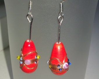 Red dangling earrings, lampwork bead