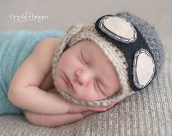 Baby Pilot Hat, Boy hat, Newborn Aviator Hat With Goggles, Newborn Photo Prop, Chin Strap Baby Hat, baby girl hat, baby boy aviator