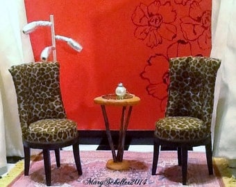Leopard Print Fabric Chairs and Primitive Table Set for Barbie Blythe Monster High Liv Dolls