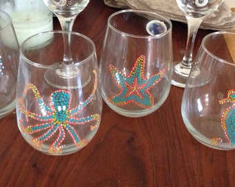 Stemless wine glasses. Sea life set. Hand painted.