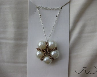 5 Pearl Beads Necklace with Brown Chain
