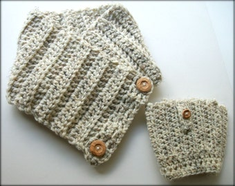 Boot Socks and Chunky Scarf Matching Set - Cream Wool - Wood Buttons
