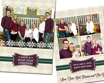 "Holly Holidays Photo Christmas Card -  5"" X 7"" Digital File"