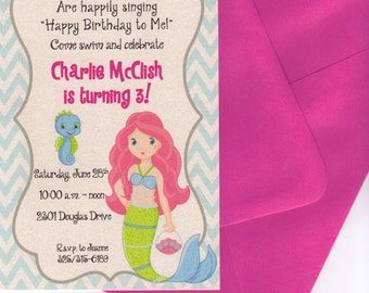 Qty. 25 Mermaid Swim Party Invitations with Hot Pink Blank Envelopes
