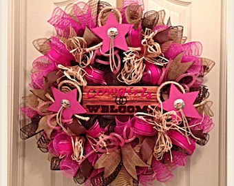 Cowgirl Hot Pink Western Star Welcome Deco Mesh Wreath/Cowgirl Wreath/Western Star Wreath/Hot Pink Welcome Wreath/Welcome Wreath