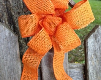 Orange Burlap Bow rustic country Chair Pew wedding decoration