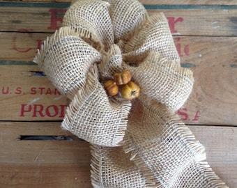 Fall Wreath Burlap Bow rustic country pumpkin harvest festival wedding light brown decoration autumn