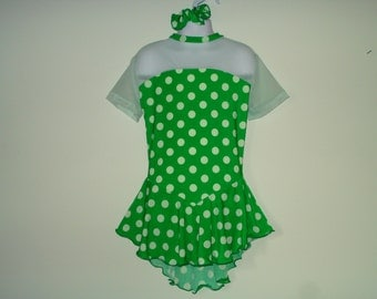 Ice Skating Dress for Girls or Adults, Green with Light Green Dots, Sweet Design, Attached Brief, Short Sleeves, Irish Dance Dress, Dancing