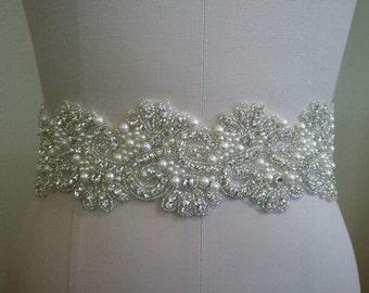 SALE - Wedding Belt, Bridal Belt, Sash Belt, Crystal Rhinestone & Off White Pearls - Style B886