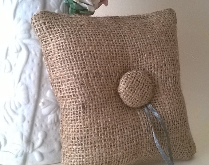 Burlap Ring Bearer Pillow with Button and Ribbon, Made to order