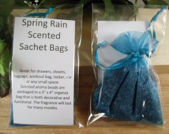 Spring Rain Scented Sachet Bag - Fresh and Clean Scent -Great for Drawers, Closets, Luggage, Workout Bags- Hostess and Shower Gifts
