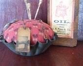 Primitive Pincushion, Primitive Pinkeep, Antique Mold, Altered Antique Bottle, Primitive Bottle, Primitive Label, Bottle LabeOFG HAFAIR