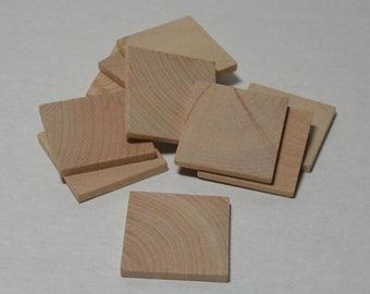 """1-1/4""""  Wood Squares - Set of 10 - Wood Tiles - Unfinished Wood - 1/8"""" Thick"""