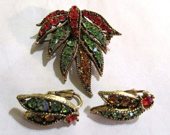 Antique pin, fall colors  RHINESTONE leaf BROOCH clip back EARRINGS set jewelry, estate Jewelry