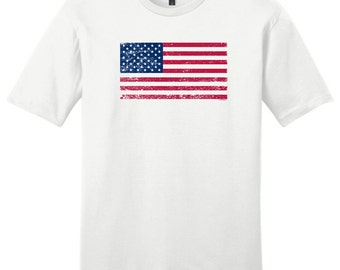 Tattered American Flag Young Men's T-Shirt DT6000  - US-107