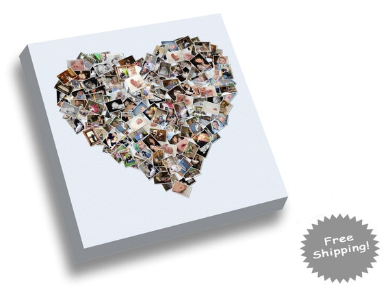 items similar to heart photo collage heart shape picture collage on etsy. Black Bedroom Furniture Sets. Home Design Ideas